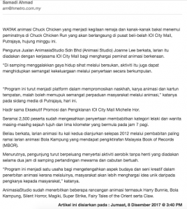 CHUCK CHICKEN DI PUTRAJAYA - Article