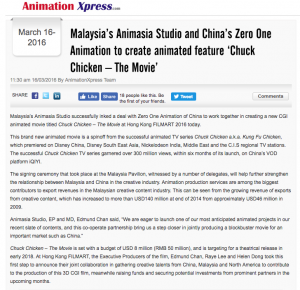 MALAYSIA ANIMASIA STUDIO AND CHINA ZERO ONE ANIMATION TO CREATE ANIMATED FEATURE CHUCK CHICKEN – THE MOVIE - Article